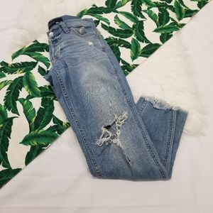 Hollister Distressed Boyfriend Ultra Low Rise Jean